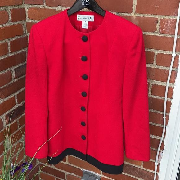 Vintage Christian Dior red/black wool blazer SZ 4